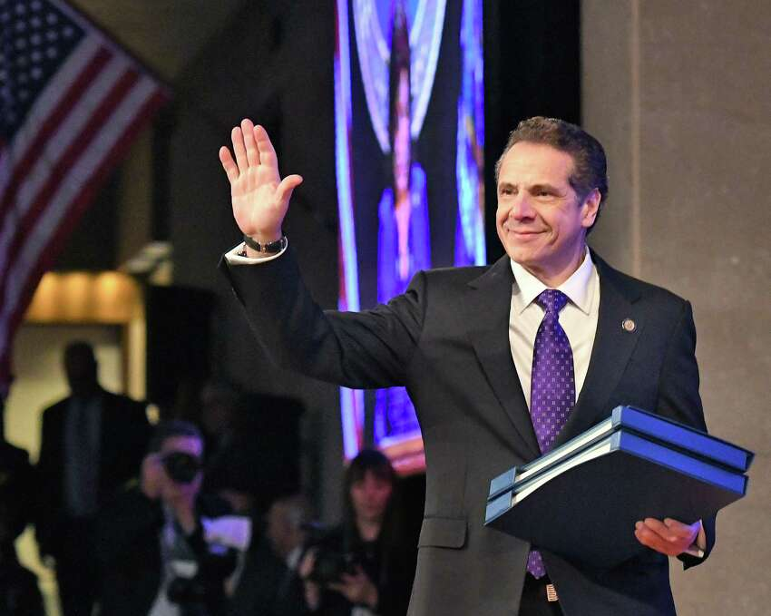 Gov. Andrew Cuomo takes the stage to deliver his 2018 State of the State Address at the Empire State Plaza Convention Center Tuesday Jan. 3, 2018 in Albany, NY. (John Carl D'Annibale / Times Union)