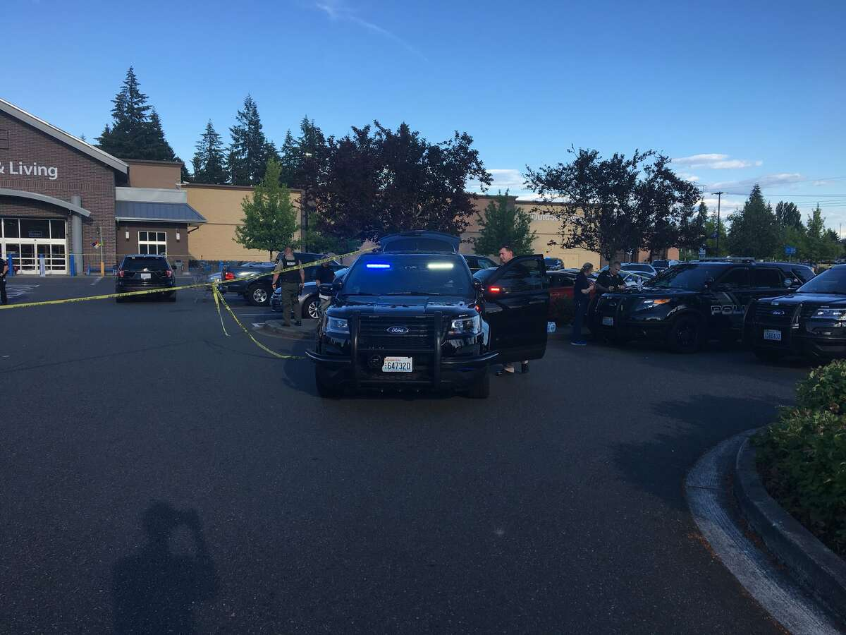 Police investigate shooting at Tumwater Walmart.