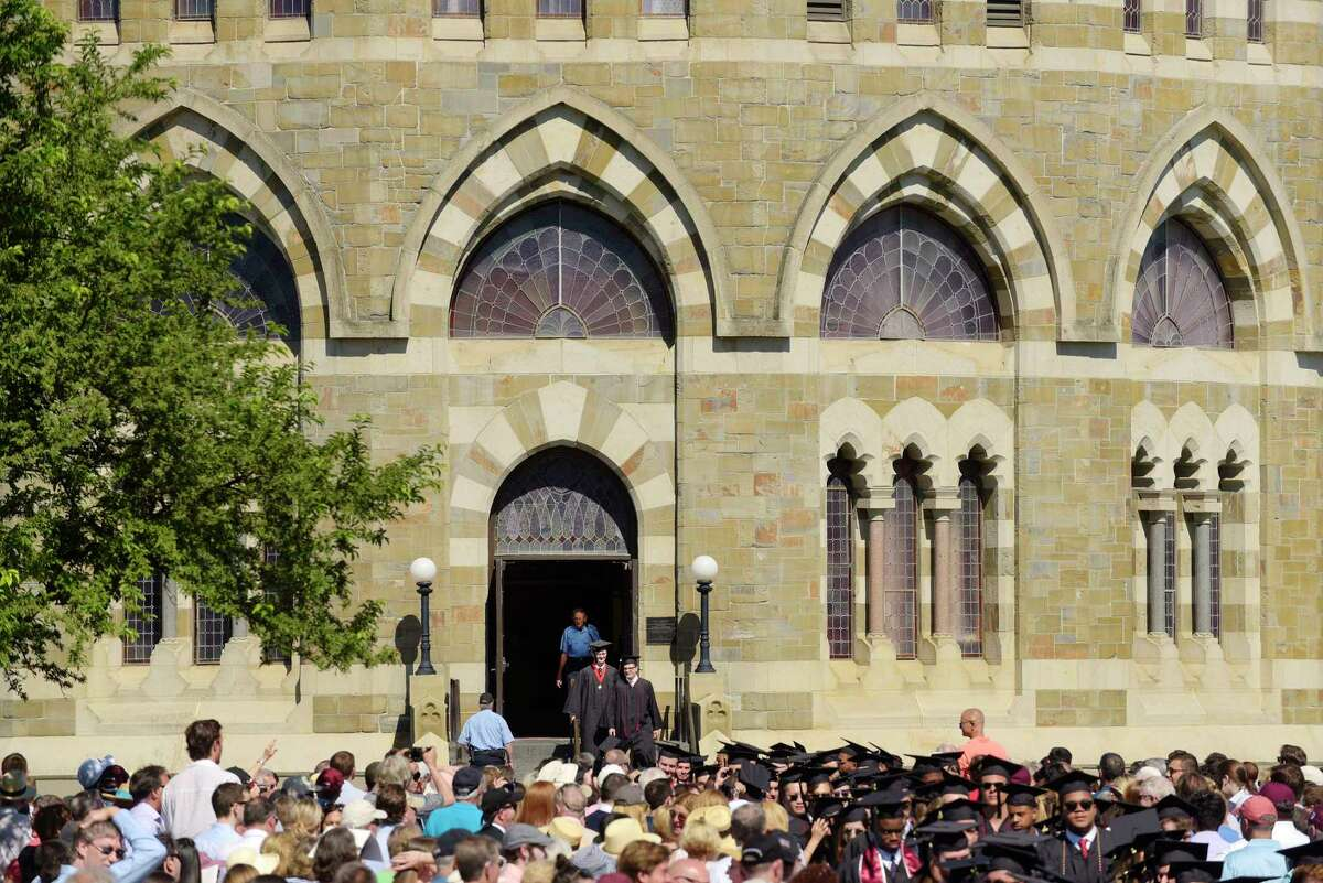 The final two graduates make their way out of the Nott Memorial during the procession of graduates at the start of the Union College 224th Commencement Exercises on Sunday, June 17, 2018, in Schenectady, N.Y. (Paul Buckowski/Times Union)