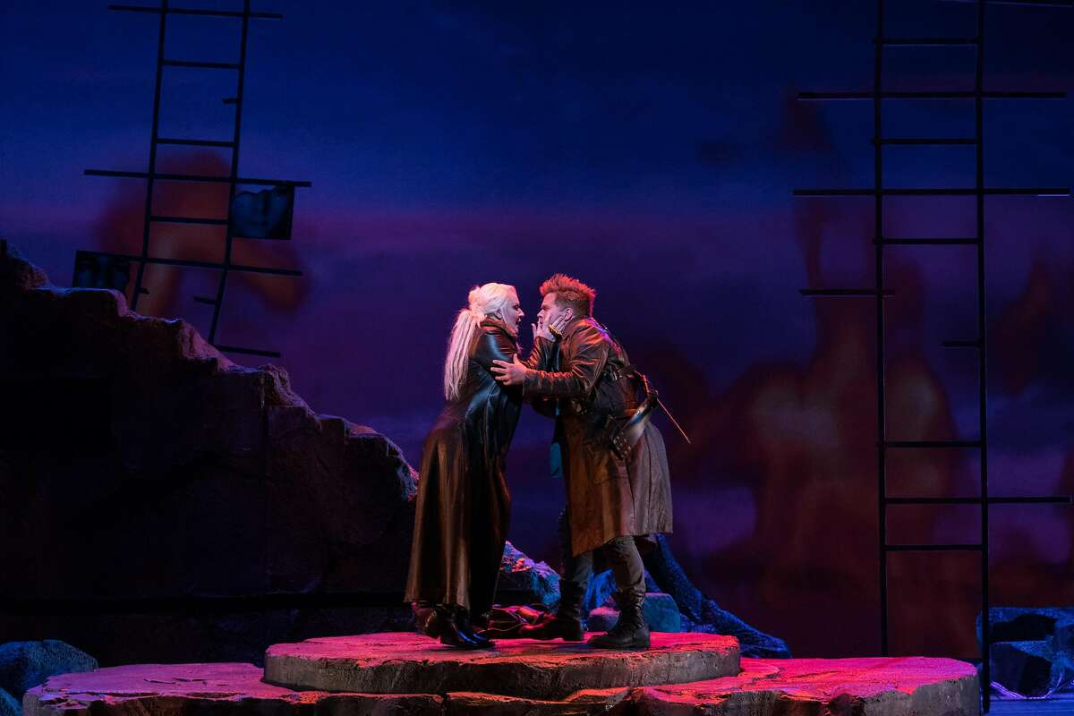 Irene Theorin as Br�nnhilde and Daniel Brenna as Siegfried embrace during the final dress rehearsal for Richard Wagner's four-part Ring cycle, G�tterd�mmerung, at the War Memorial Opera House in San Francisco, Calif. on Sunday, June 10, 2018.