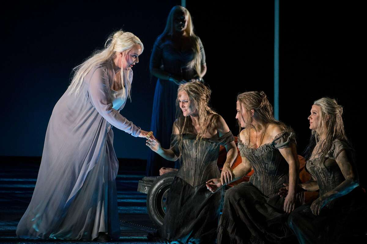 Irene Theorin as Br�nnhilde, hands over the ring of power during the final dress rehearsal for Richard Wagner's four-part Ring cycle, G�tterd�mmerung, at the War Memorial Opera House in San Francisco, Calif. on Sunday, June 10, 2018.