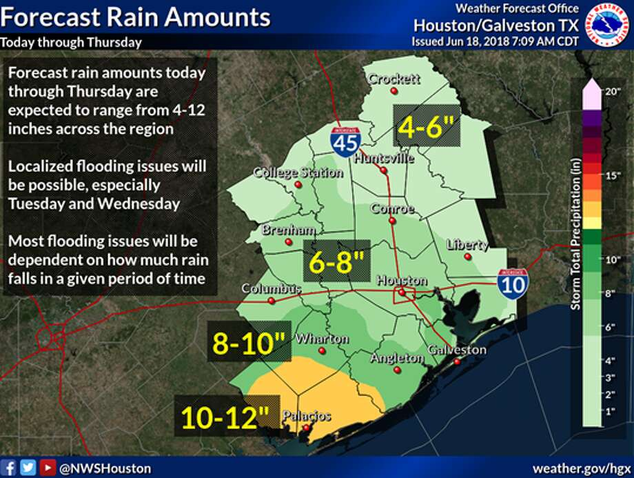 Rain is forecast for Monday, June 18, 2018 as a tropical disturbance moves into the state.