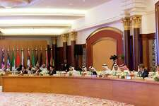 Representatives of OPEC and non-OPEC countries attend the Joint Ministerial Monitoring Committee of OPEC in Jiddah, Saudi Arabia, on April 20, 2018.