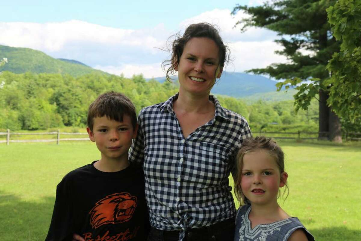 Former congressional candidate Katie Wilson with her two children. (Provided)