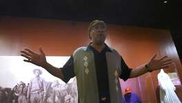 """Actor Carl Brooks rehearses """"Ode to Juneteenth."""" Brooks and actress Charlene Watts will perform the solo show as part of the Tricentennial exhibit """"Confluence and Culture: 300 Years of San Antonio History."""""""