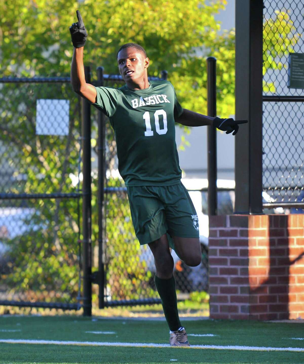 Joel Richards (10) of the Bassick Lions celebrates a score during a game against the Harding Presidents on October 11, 2016 at Luis Munoz Marin School in Bridgeport, Connecticut.