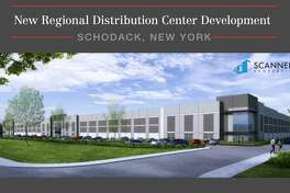A marketing brochure from Scannell Properties shows a rendering of the distribution center proposed for Schodack between I-90 and Route 9.