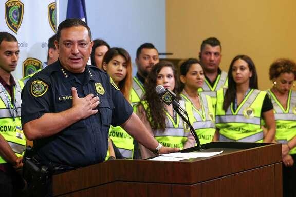 "Houston Police Chief Art Acevedo announces the start of the ""Communicators on Patrol"" volunteer program at the HPD Edward A. Thomas Building, Monday, June 18, 2018, in Houston."
