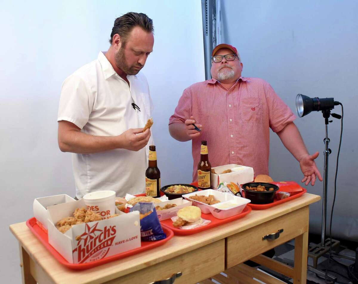 San Antonio chefs Stefan Bowers (left) and Jeff White debate the relative merits of 15 fast food items.