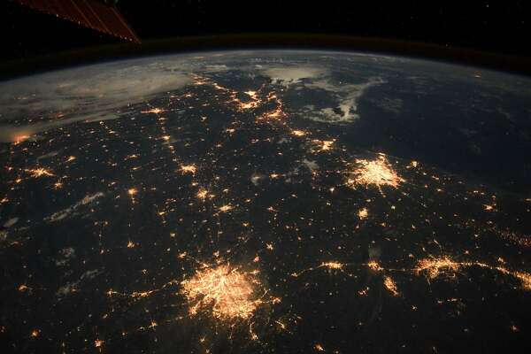 """""""Looking good #Houston #Dallas #SanAntonio and #Austin! Goodnight from   @Space_Station.  """" Astronaut Drew Feustel tweeted along with this photo from the Space Station."""
