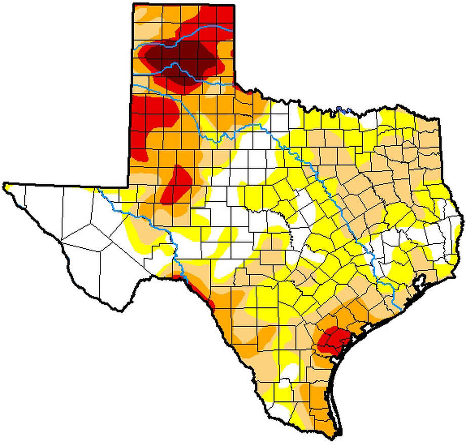 According to the current U.S. Drought Monitor map, posted Thursday, about 75 percent of Texas is suffering from abnormally dry conditions. That's down from 79 percent just a week ago, but the intensity has increased markedly for parched areas of the state. Photo: U.S. Drought Monitor