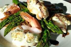 Stuffed shrimp at Bovines & Fins.