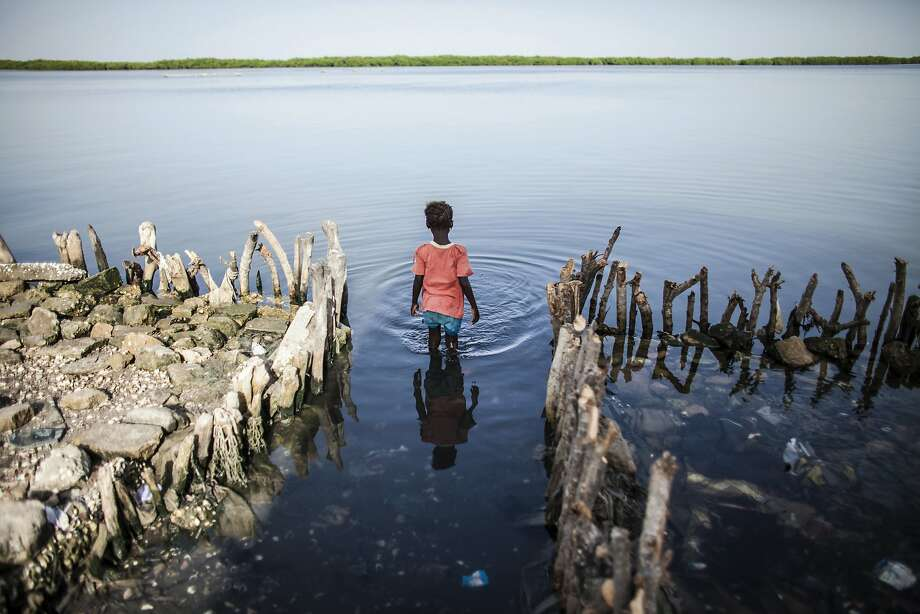 FILE - In this Oct. 18, 2015 file photo, a young girl wades in the water outside of Fatou Faye's home in Diamniadio Island, Saloum Delta in Senegal. The place where Faye's kitchen once stood is now outlined with short branches of mangroves that she hopes will slow the nearby sea from destroying the rest of her house. The rising sea levels pushing into the waters of Senegal's Saloum Delta already threaten to carve the rest of her gray cement home from its foundation, leaving her and 30 other relatives homeless on the low-lying island. (AP Photo/Jane Hahn, File) Photo: Jane Hahn, Associated Press