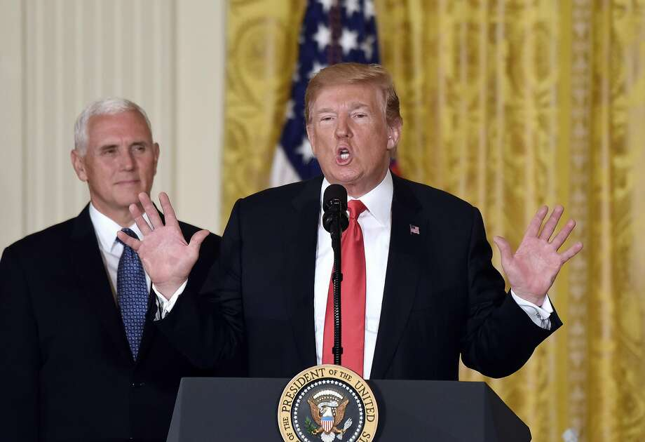 President Donald Trump speaks as Vice President Mike Pence looks on during a meeting with the National Space Council on Monday, June 18, 2018 in the East Room of the White House, in Washington, D.C. (Olivier Douliery/Abaca Press/TNS) Photo: Olivier Douliery / TNS