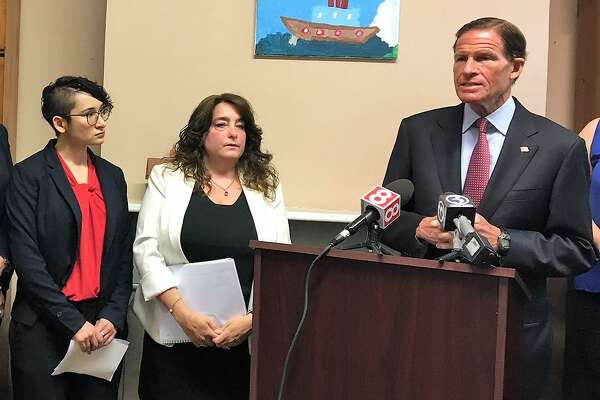 U.S. Sen. Richard Blumenthal addresses immigration advocates at Junta for Progressive Action Monday.