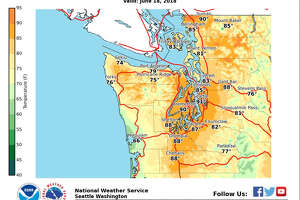 Seattle's high on Monday could reach 90 degrees, while Wednesday could be even hotter.