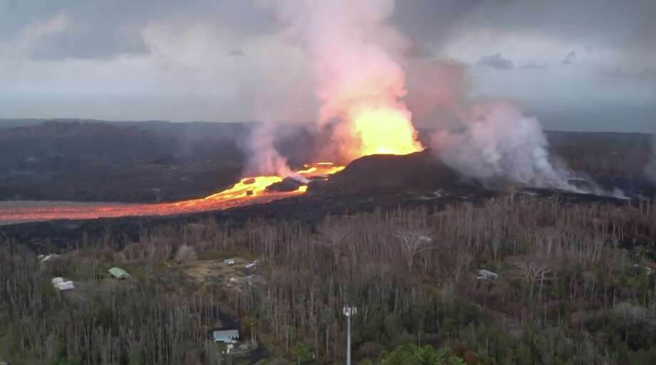The Hawaii Army National Guard captured new footage of a fissure opening near Kilauea volcano on the Big Island, released on Monday, June 18, 2018. Photo: Associated Press