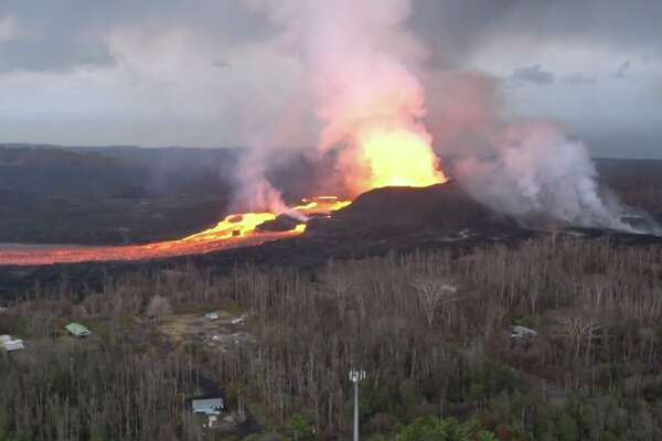 The Hawaii Army National Guard captured new footage of a fissure opening near Kilauea volcano on the Big Island, released on Monday, June 18, 2018.