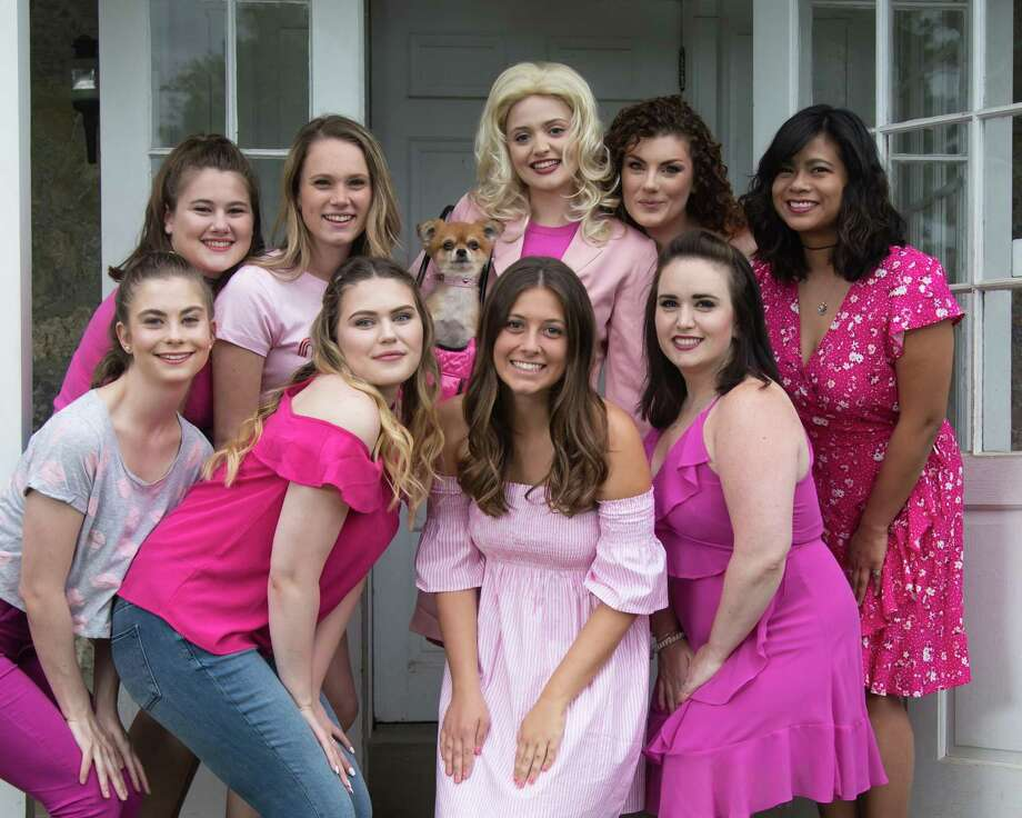 "Elle Woods (Melody Atkinson, with dog) gets ready to take on Harvard Law School in ""Legally Blonde,"" presented outdoors under the stars by Musicals at Richter in Danbury, June 29-July 14. Pictured with her from left, front, are Haley Huxley, Daisy Stott, Caitlin Burke and Kate Patton. From left, back, are Maddy Oldham, Sarah Baker, Margaret Buzak and Monica Castillo. Photo: David Henningsen Photography / Contributed Photo"