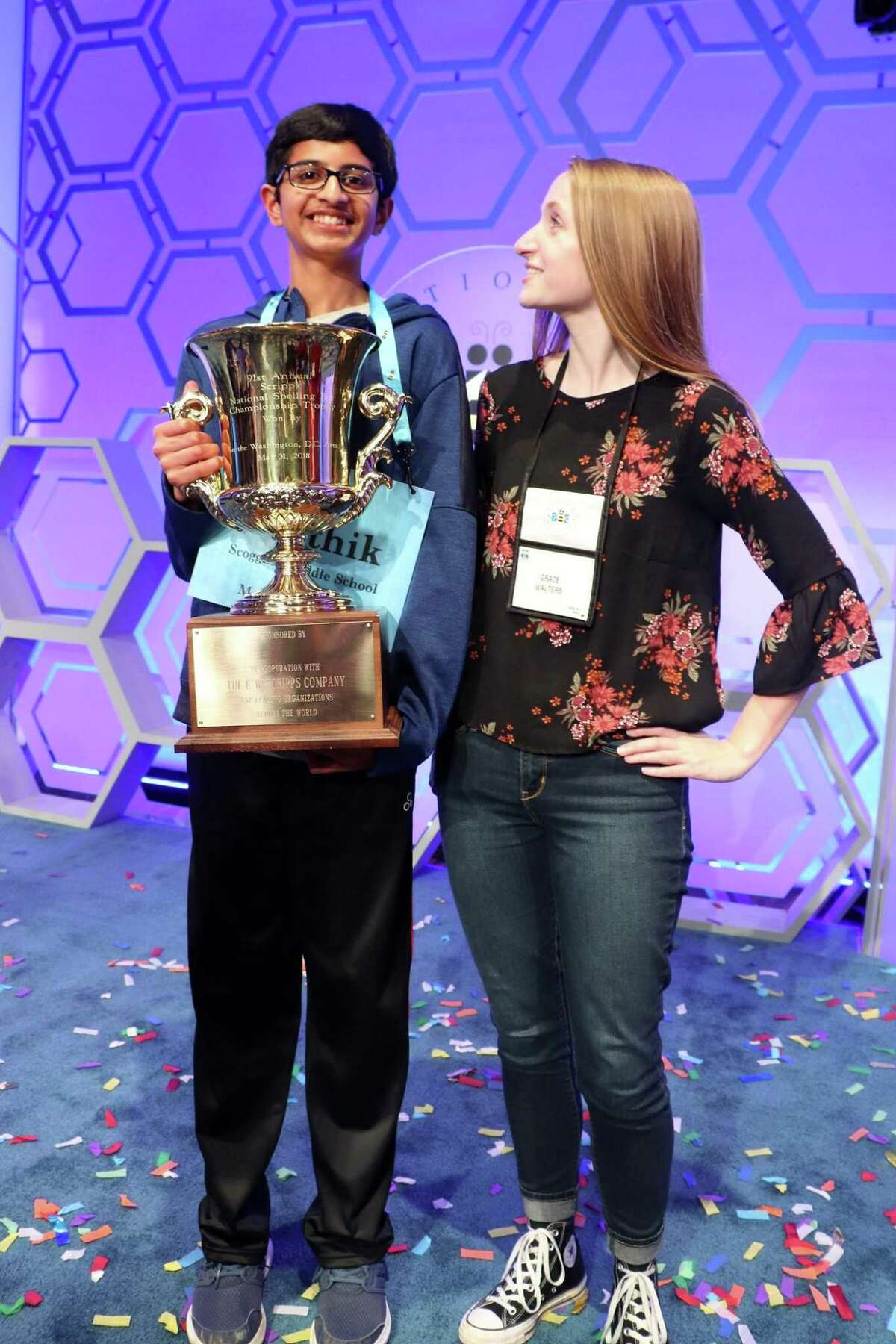 Grace Walters, 16, a Covenant Christian School student, is pictured with Karthik Nemmani, 14, the 2018 Scripps National Spelling Bee winner on May 31 in Washington DC. Walters has coached Nemmani since September in preparation for the national competition.