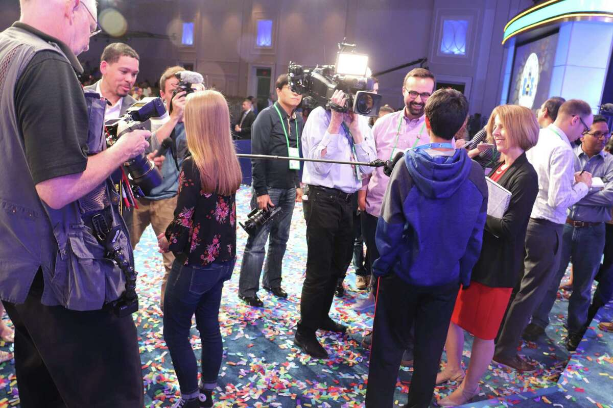 Grace Walters, left, does interviews with media after her spelling student, Karthik Nemmani, won the Scripps National Spelling Bee on May 31 in Washington DC. Walters is a student at Covenant Christian School in Conroe. Walters was interviewed by Time magazine following the competition.