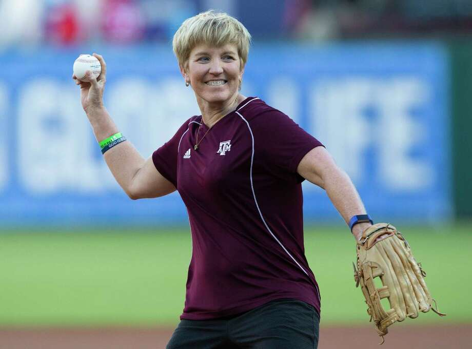 Charean Williams, award winner from the Professional Football Writers of America, and Pro Football Hall of Fame inductee, throws out a first pitch before a baseball game between the Colorado Rockies and Texas Rangers, Friday, June 15, 2018, in Arlington, Texas.  (AP Photo/Sam Hodde) Photo: Sam Hodde, Associated Press / Sam Hodde