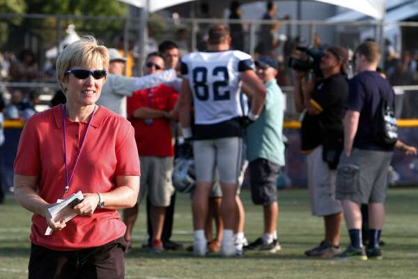 Beaumont native Charean Williams will be inducted into the Pro Football Hall of Fame for her work as a sports reporter. Chareen during a Dallas Cowboys training camp in Oxnard, California.