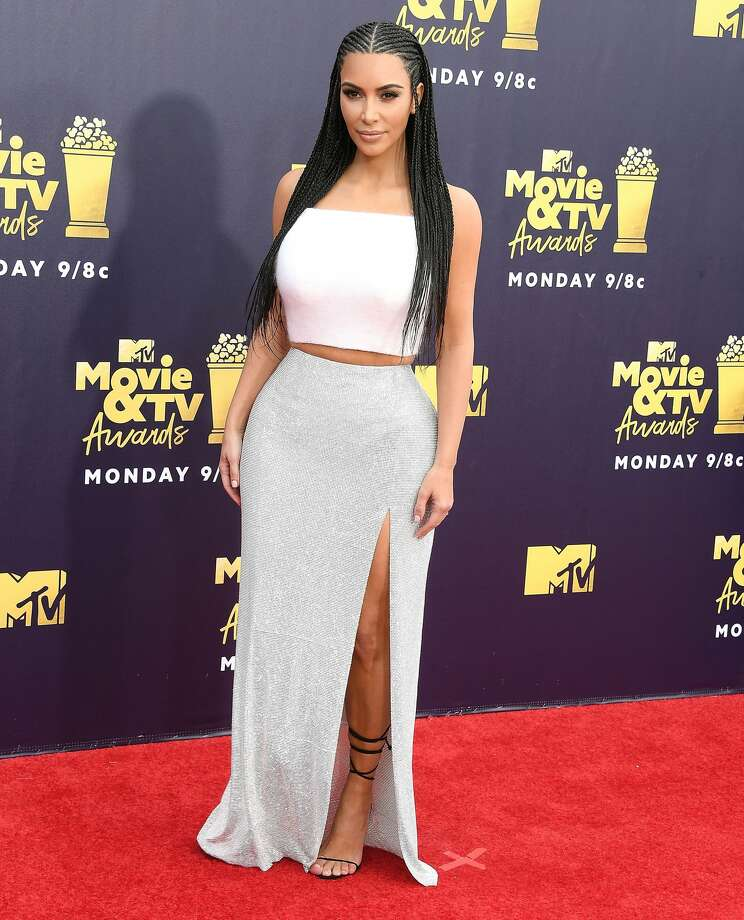 Kim Kardashian arrives at the 2018 MTV Movie And TV Awards at Barker Hangar on June 16, 2018. Photo: Steve Granitz/WireImage