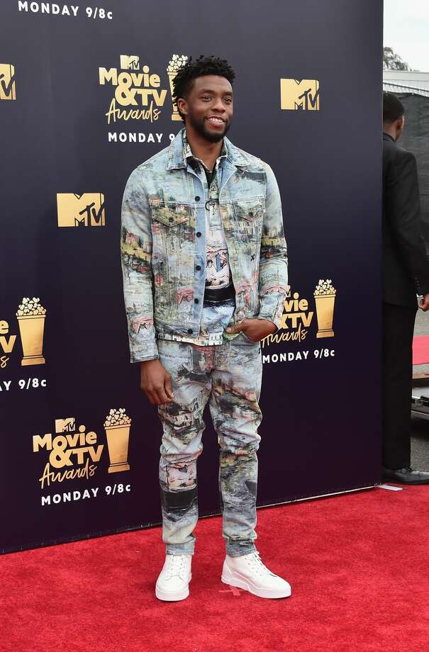 Chadwick Boseman attends the 2018 MTV Movie And TV Awards at Barker Hangar on June 16, 2018 in Santa Monica, Calif.Boseman quickly handed off his best hero award to James Shaw Jr., who wrestled an assault-style rifle away from a gunman in a Tennessee Waffle House in April. Photo: Alberto E. Rodriguez/Getty Images For MTV