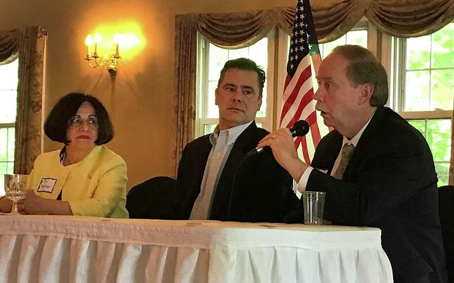 State Sen. Michael McLachlan talks while fellow legislators state Sen. Toni Boucher and state Rep. Will Duff look on during the Bethel Chamber of Commerce's Annual Meeting held Monday, June 18, 2018, at Miichael's at the Grove in Bethel, Conn. Photo: Chris Bosak / Hearst Connecticut Media / The News-Times