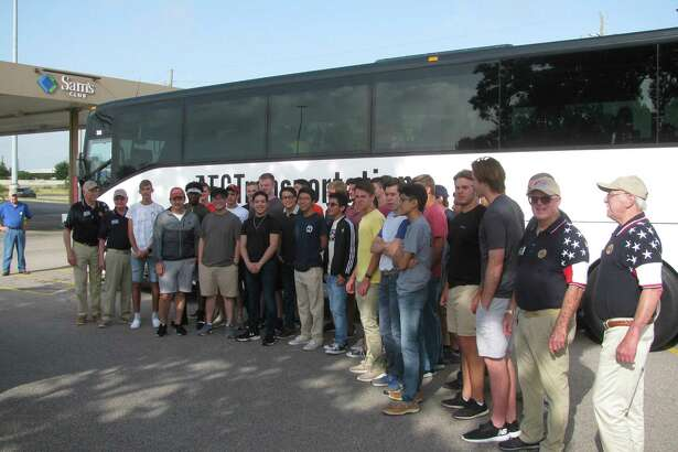 Katy-area boys attending Texas Boys State 2018 in Austin, flanked by members of American Legion Post 164's Boys State committee.