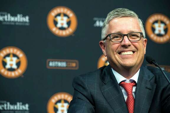 Houston Astros' Jeff Luhnow smiles as he answers questions during a news conference announcing that he has been named President of Baseball Operations and General Manager at Minute Maid Park on Monday, June 18, 2018, in Houston. Luhnow also was given a contract extension throug thge 2023 season.