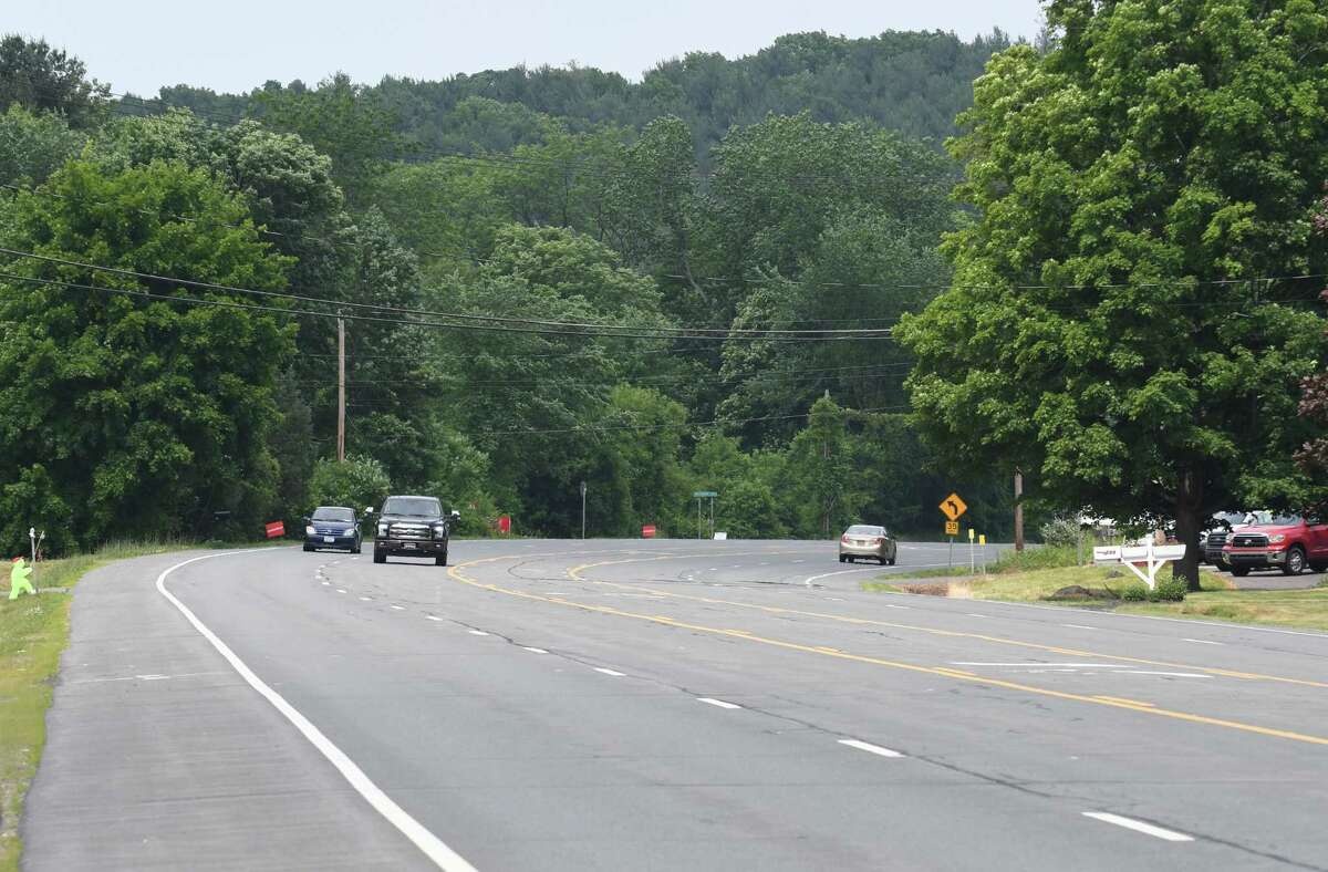 Traffic moves along Route 9 near the site of a proposed warehouses on Monday, June 18, 2018, in Schodack, N.Y. (Will Waldron/Times Union)