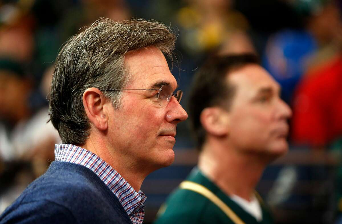 Oakland Athletics' General Manager Billy Beane (left) and Manager Bob Melvin during Fan Fest at Oracle Arena in Oakland, Calif. on Sunday, February 8, 2015.