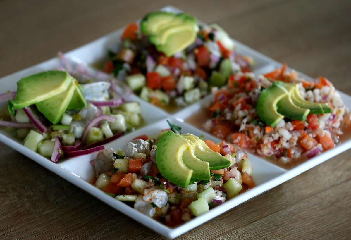 Mixed ceviche is served at Rincon Nayarit Mexican restaurant in San Francisco.