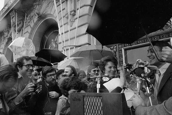 Jan. 9, 1978: San Francisco Supervisor Harvey Milk is sworn in on the City Hall steps.