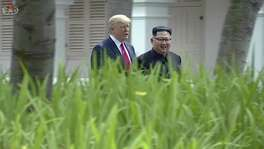 In this image made from video released by KRT on June 14, 2018, shows North Korean leader Kim Jong Un, right, walking with U.S. President Donald Trump in the garden during their summit in Singapore, June 12.