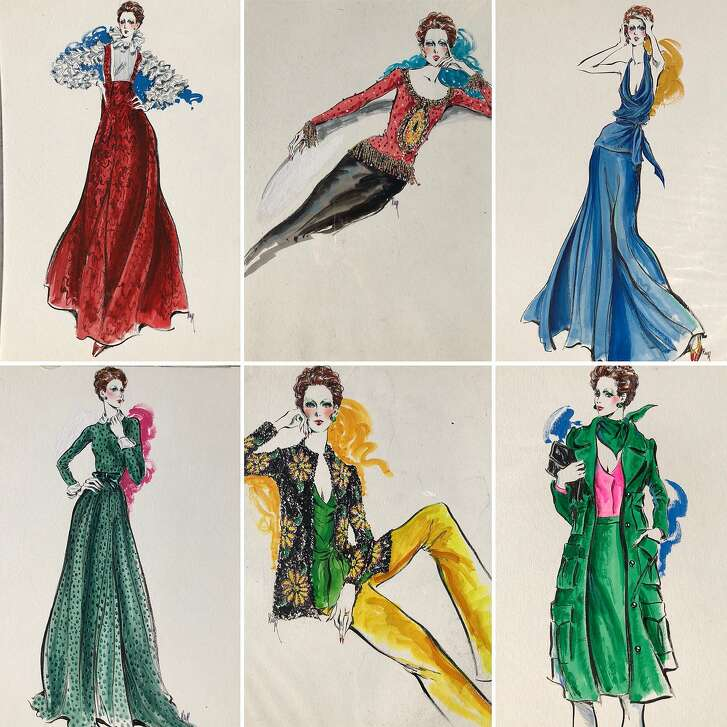 """Fashion illustrations by Robert W. Richards of designs by Marilyn Lewis, who designed under the label """"Cardinali"""" in the 1960s and '70s. San Francisco vintage clothing dealer Rocky Serbin is selling 50 pieces from the late designer's estate, including a gown worn by Greta Gerwig."""
