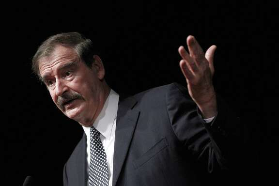 In this Oct. 18, 2018, photo, former Mexican President Mexico Vicente Fox speaks at the CATO Institute in Washington. Former Mexican President Vincente Fox calls himself a soldier in the global campaign to legalize marijuana, and he foresees a day when the marketplace will deliver an array of benefits from sharply reduced cartel violence in his home country to new jobs and medicines. He's taking a new post to advance his message on the board of High Times, one of the longstanding brands in cannabis media.