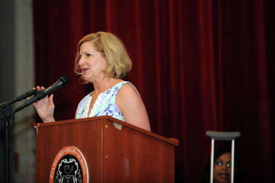 Dr. Laura Greene, the assistant director of alternative programs, speaks during the Stamford Public Schools' Alternative Routes to Success graduation inside the auditorium at Stamford High School in Stamford, Conn. on Monday, June 18, 2018. Photo: Michael Cummo, Hearst Connecticut Media / Stamford Advocate