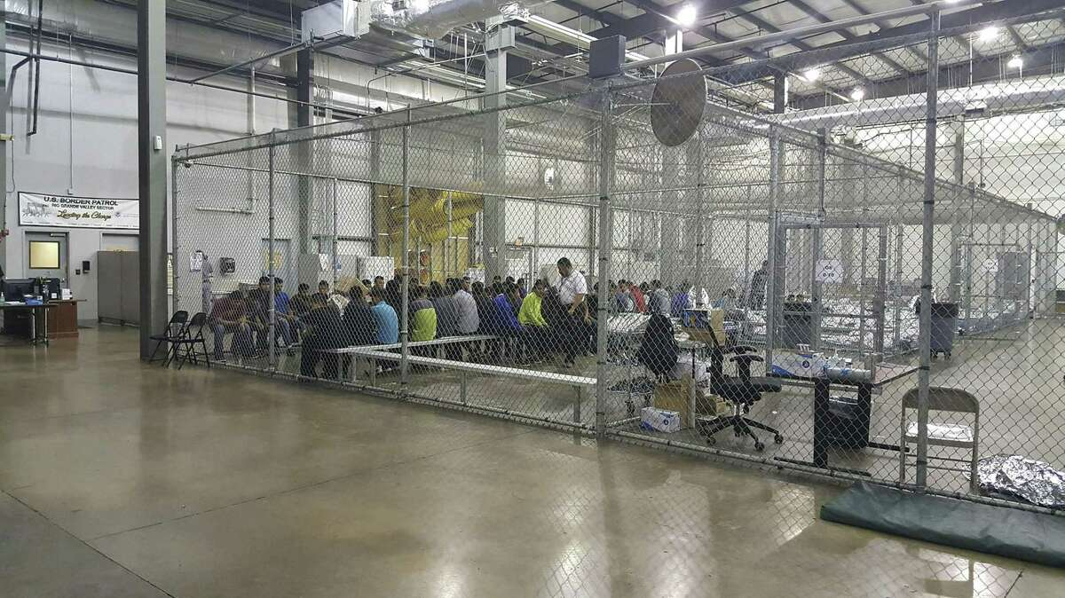 This U.S. Customs and Border Protection photo obtained June 18, 2018 shows intake of illegal border-crossers at the Central Processing Center in McAllen, Texas on May 23, 2018.