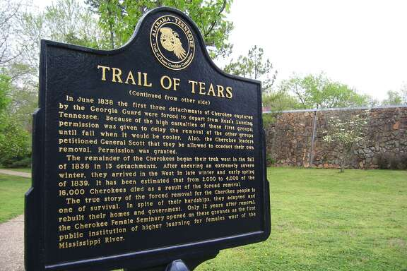 Oklahoma. Memorial historical plaque outside the Cherokee Heritage Center Museum recounts the brutal history of the Trail of Tears forced march of 1838.
