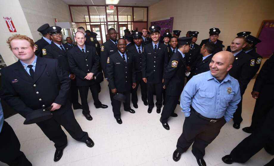 The New Haven Regional Fire Training Academy's 61st Recruit Class Graduation at Career High School in New Haven on June 18, 2018. Photo: Arnold Gold, Hearst Connecticut Media / New Haven Register