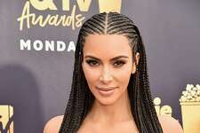 SANTA MONICA, CA - JUNE 16:  Kim Kardashian attends the 2018 MTV Movie And TV Awards at Barker Hangar on June 16, 2018 in Santa Monica, California.  (Photo by Jeff Kravitz/FilmMagic)