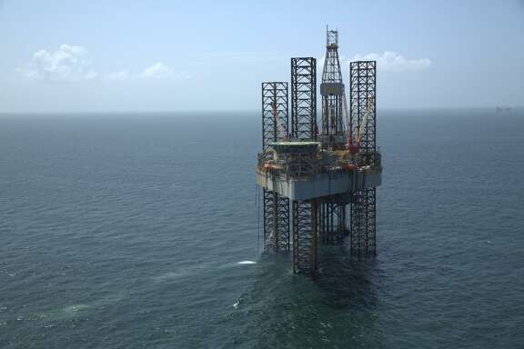 A jackup rig works on an Energy XXI project in the Main Pass complex of the Gulf of Mexico, located in about 100 feet of water near the mouth of the Mississippi River.