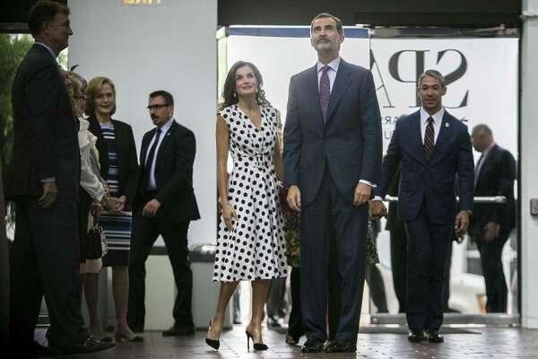 King Felipe VI and Queen Letizia of Spain arrive at the San Antonio Museum of Art June 18, 2018.