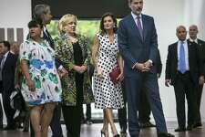 King Felipe VI and Queen Letizia of Spain visit the San Antonio Museum of Art June 18, 2018.