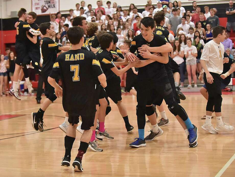 Daniel Hand defeats Cheshire 3-1 (25-17 H, 25-22 H, 25-22 C, 25-18 H) for the SCC championship title, Friday, May 25, 2018, at Cheshire High School. Photo: Catherine Avalone / Hearst Connecticut Media / New Haven Register
