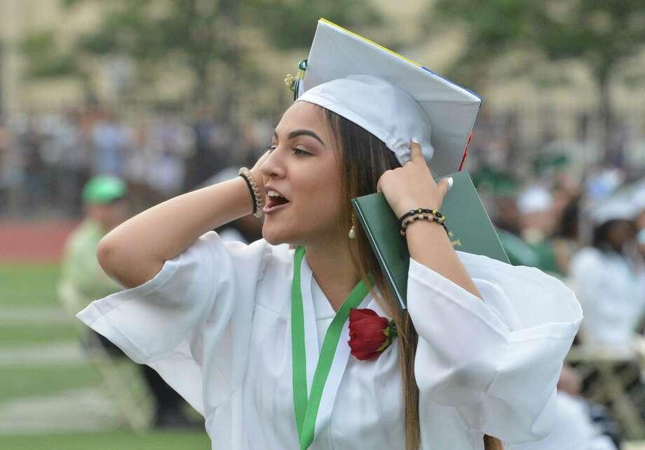 The Norwalk High School class of 2018 graduates during commencement exercises on Monday June 19, 2018 in Norwalk Conn Photo: Alex Von Kleydorff, Hearst Connecticut Media / Norwalk Hour