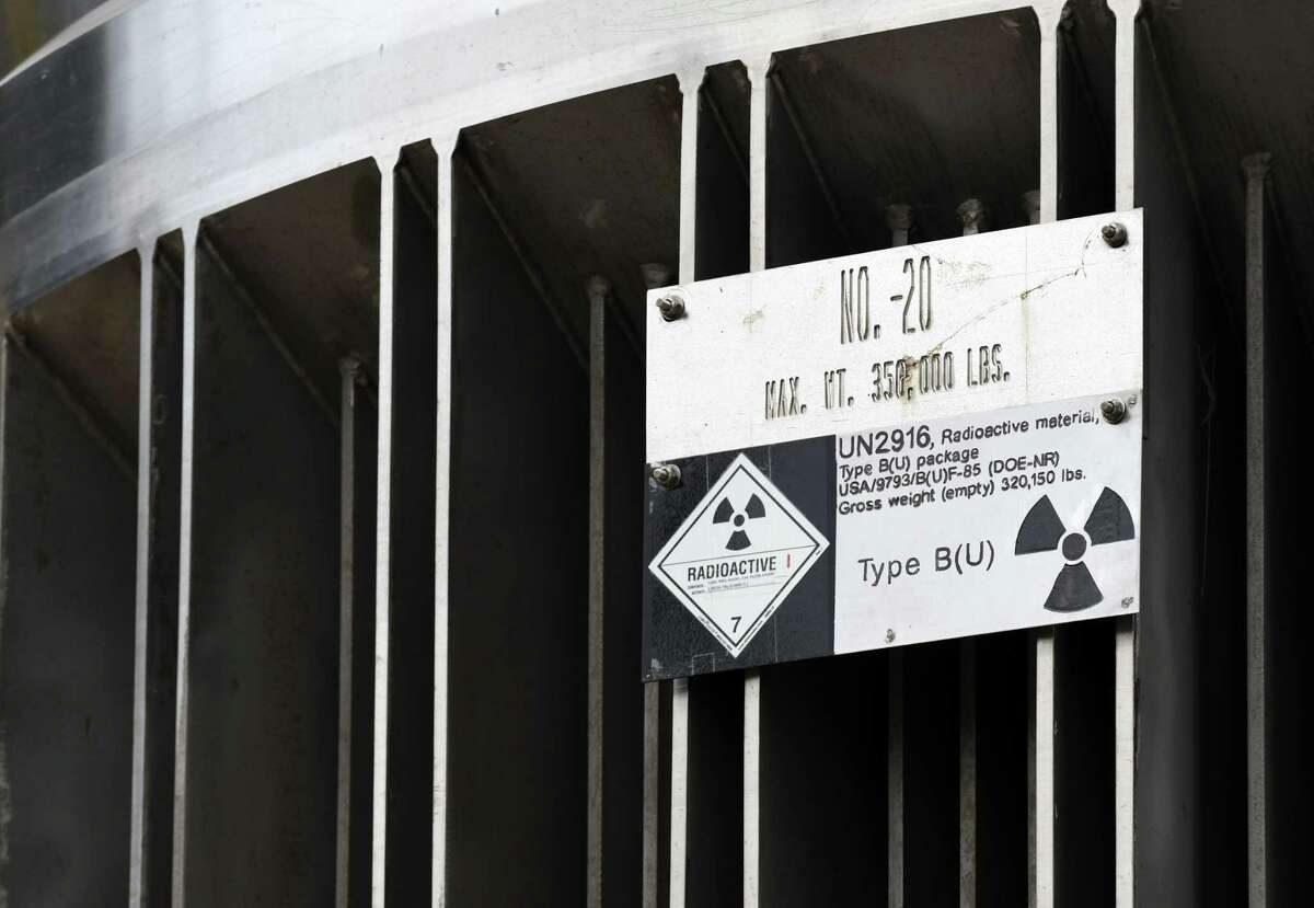 Hazard sign on a nuclear material containment vessel that was transported to the Kenneth M. Kesselring nuclear training site on Monday, June 18, 2018, in Ballston Spa, N.Y. The container will be used to support the refueling and overhaul of a reactor. (Will Waldron/Times Union)